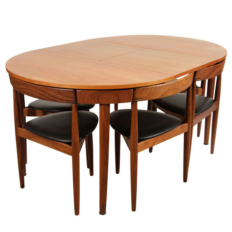 Hans Olsen Teak Dining Table With Extension And Six Chairs For