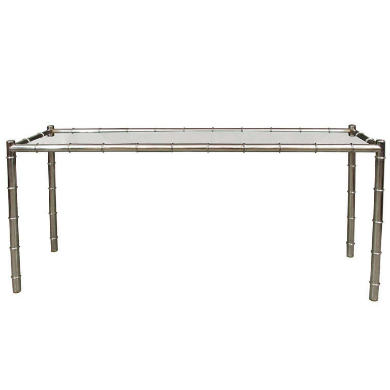 Faux Bamboo Chrome Console Table For Sale