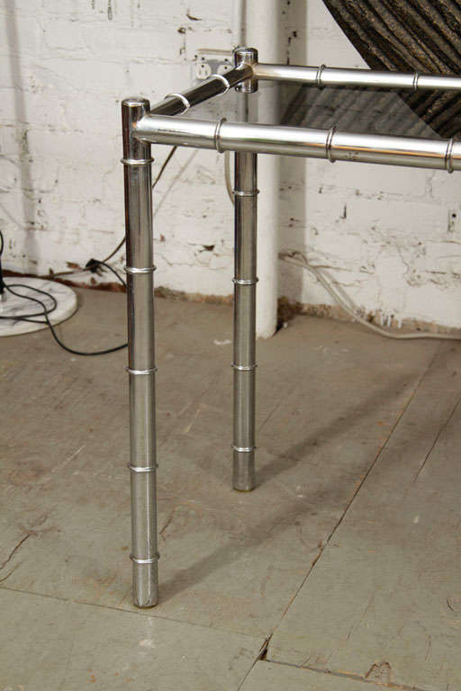Faux Bamboo Chrome Console Table For Sale 2