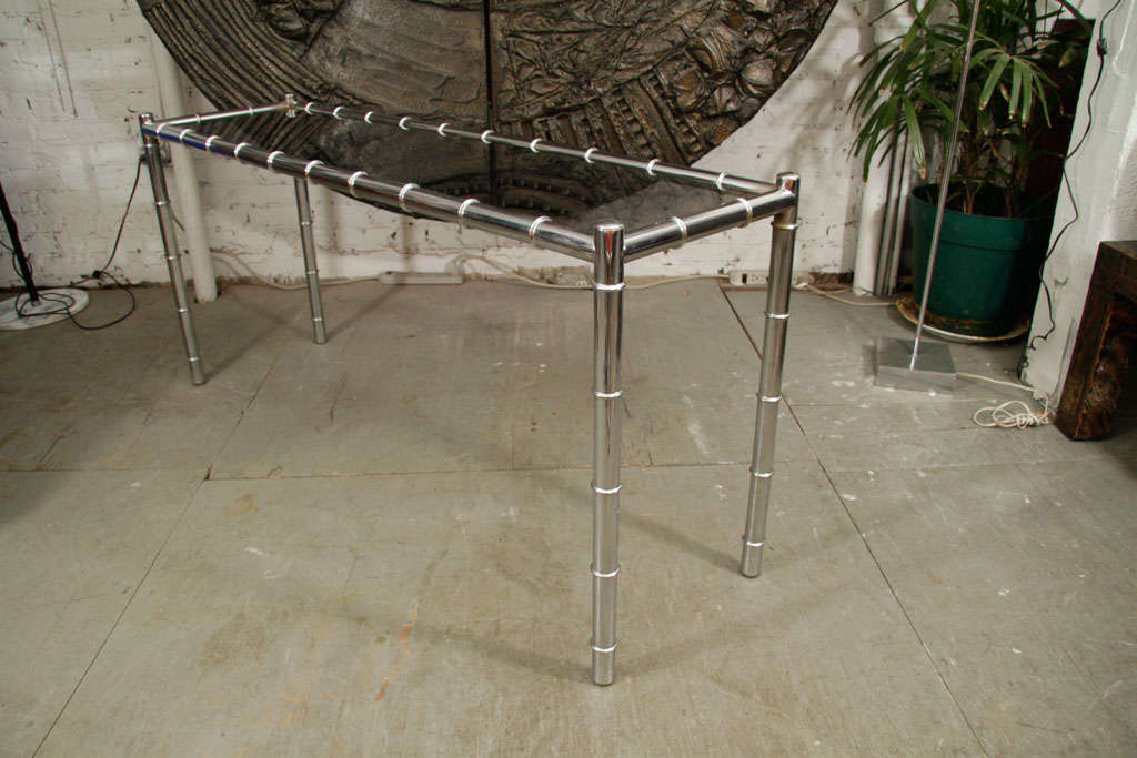 Mid-Century Modern Faux Bamboo Chrome Console Table For Sale