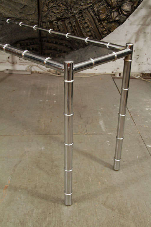 American Faux Bamboo Chrome Console Table For Sale
