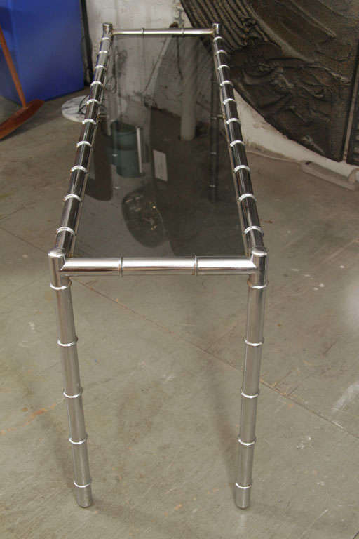 Faux Bamboo Chrome Console Table In Good Condition For Sale In New York, NY