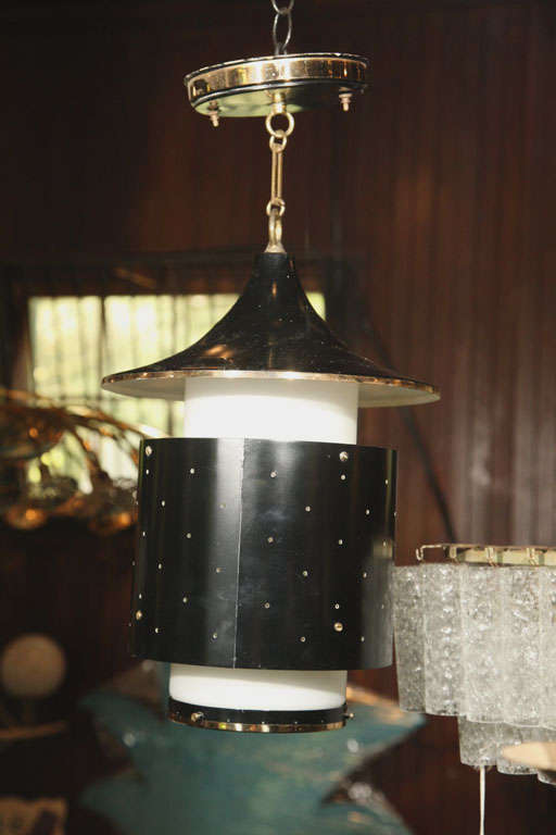 Mid-20th Century Pagoda Hanging Pendant Light or Chandelier For Sale