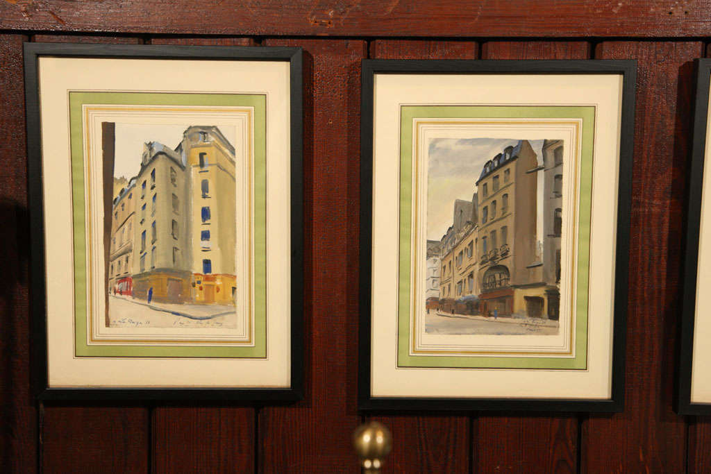 Moody Paris street scene watercolor paintings, framed. Six paintings are available.