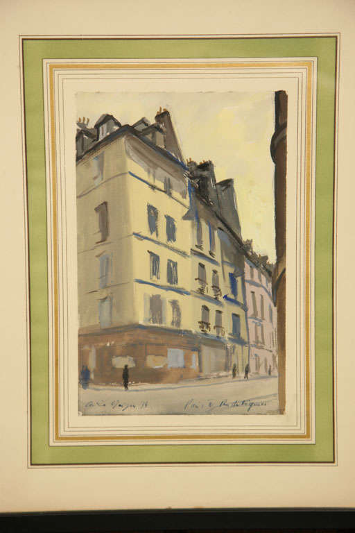Set of Six French Watercolors For Sale 1