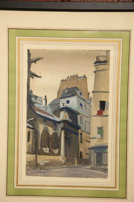Set of Six French Watercolors For Sale 2