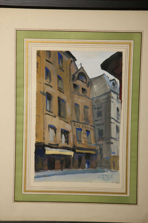 Set of Six French Watercolors For Sale 5