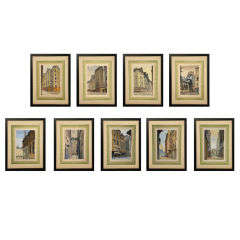 Set of Six French Watercolors