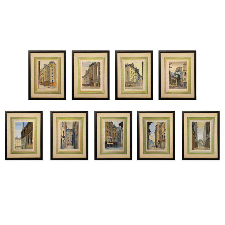 Set of Six French Watercolors For Sale