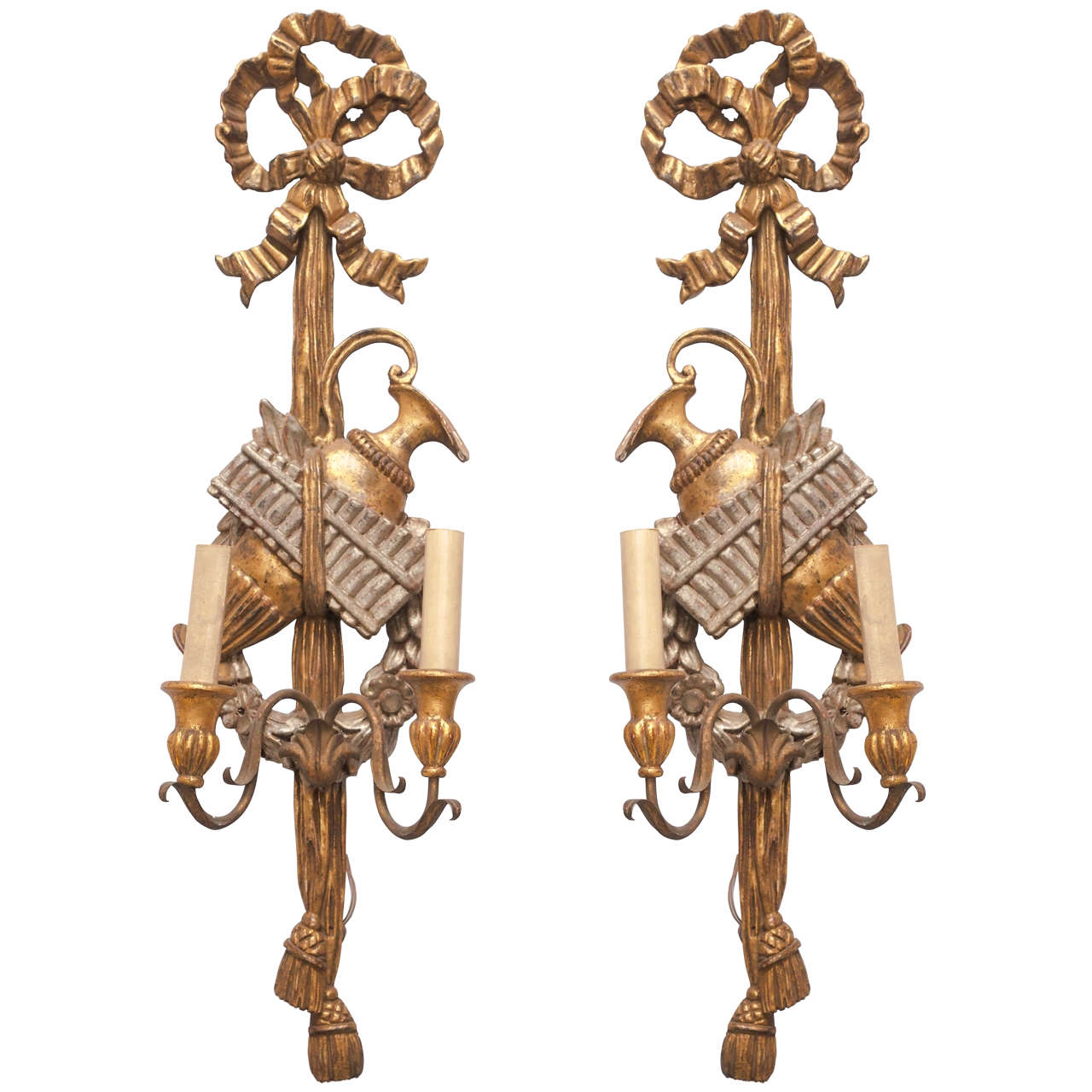 Pair of 19th Century Italian Carved Wood Gilt and Silvered Two-Arm Sconces at 1stdibs
