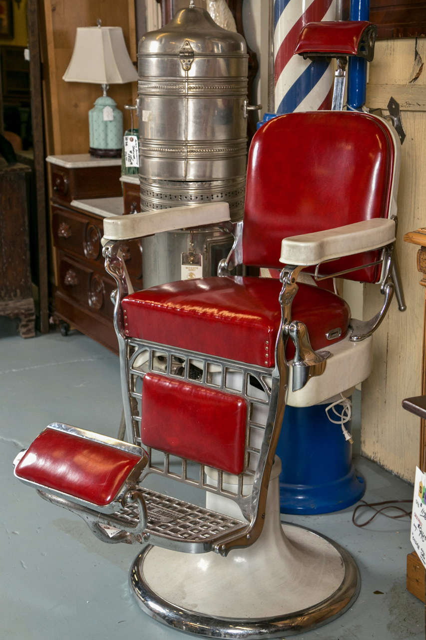 All Original Barber Chair From The Early 1900u0027s. Porcelain With All  Original Red Leather Seating