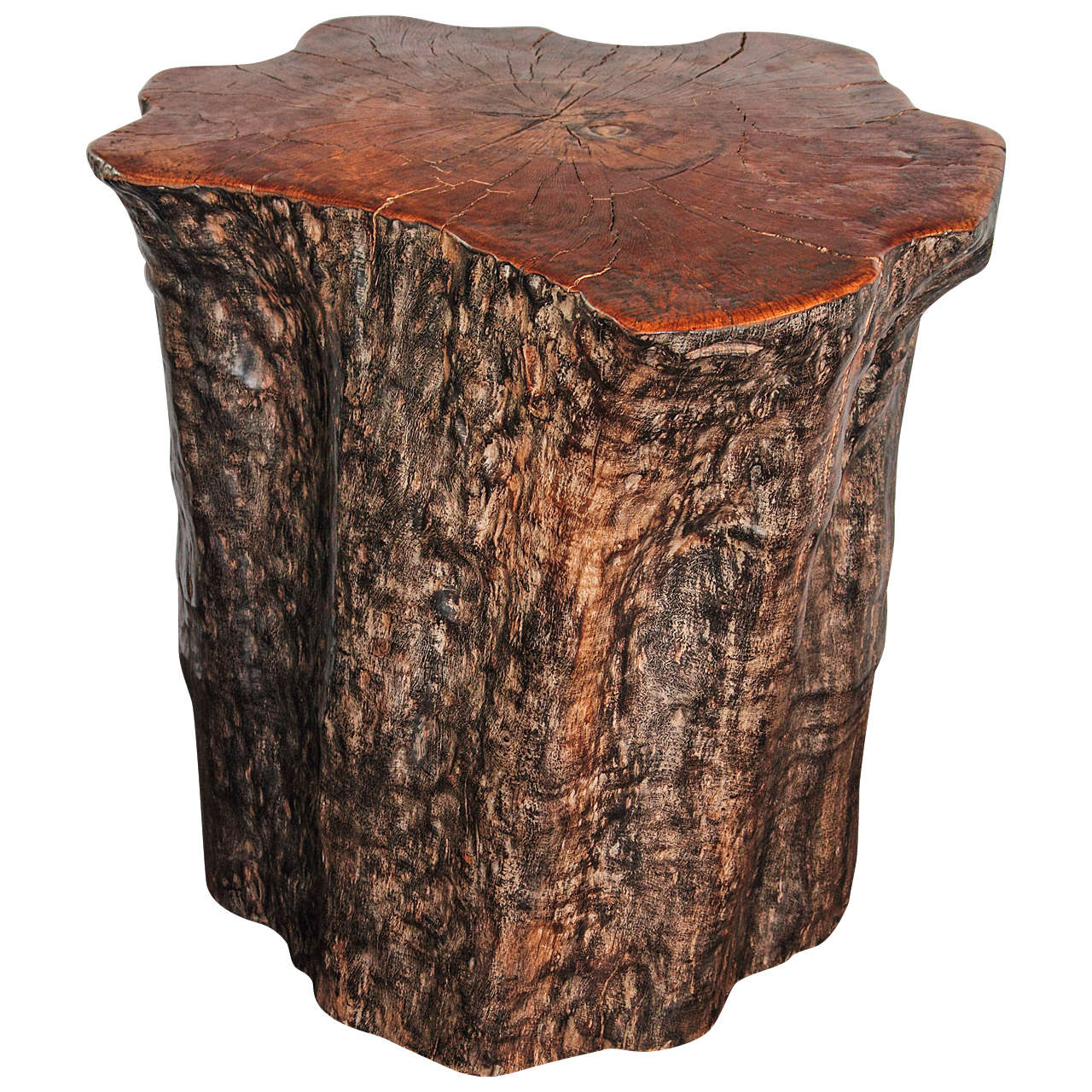 Organic Form Lychee Tree Trunk Pedestal Or End Table At