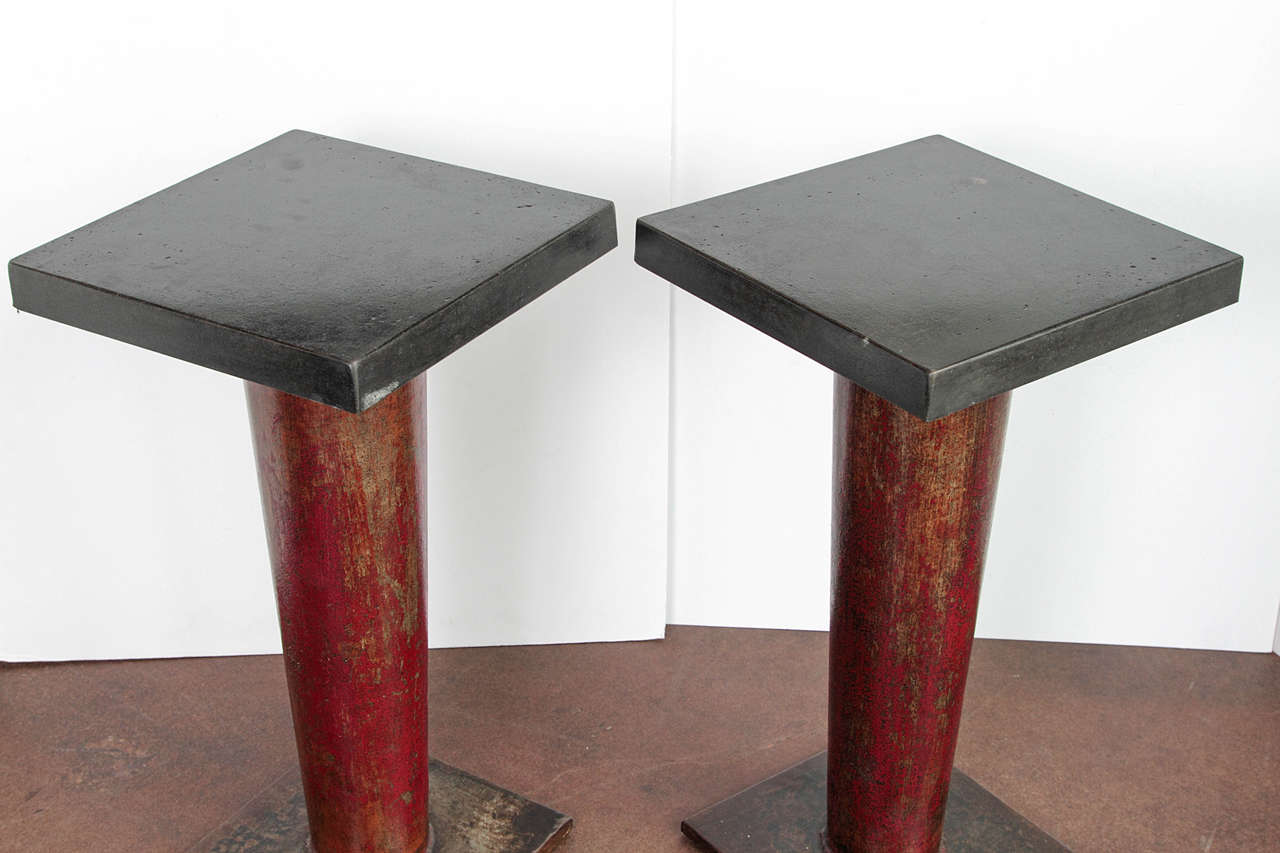 English column side table with ebonized limestone top for for Table column