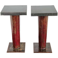 English Column Side Table with Ebonized Limestone Top