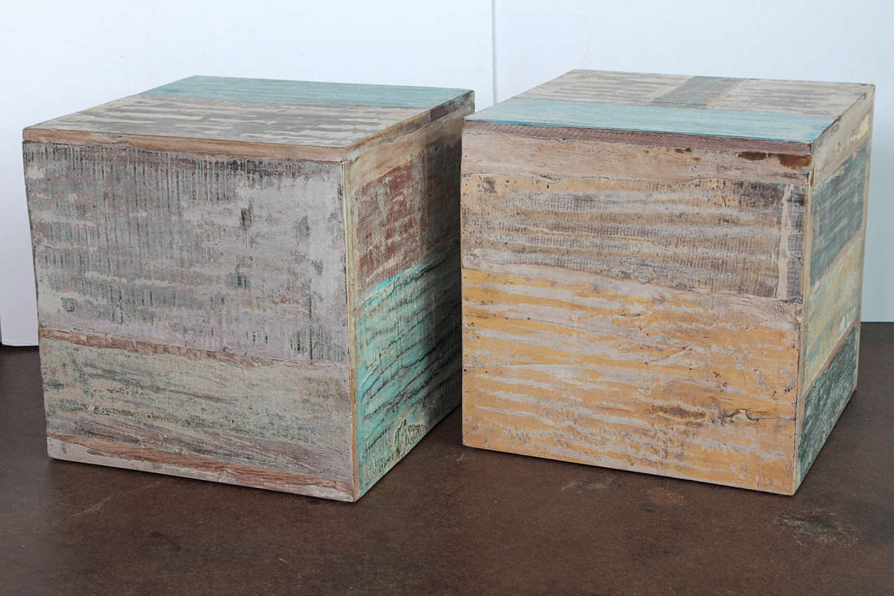 Colorful Wood Block End Tables At 1stdibs