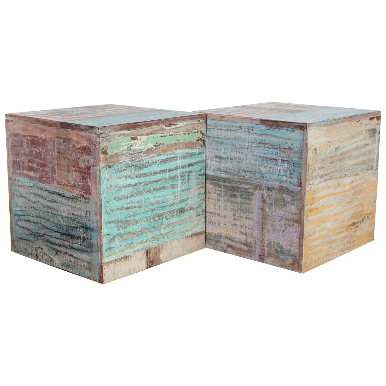 Colorful wood block end tables at stdibs