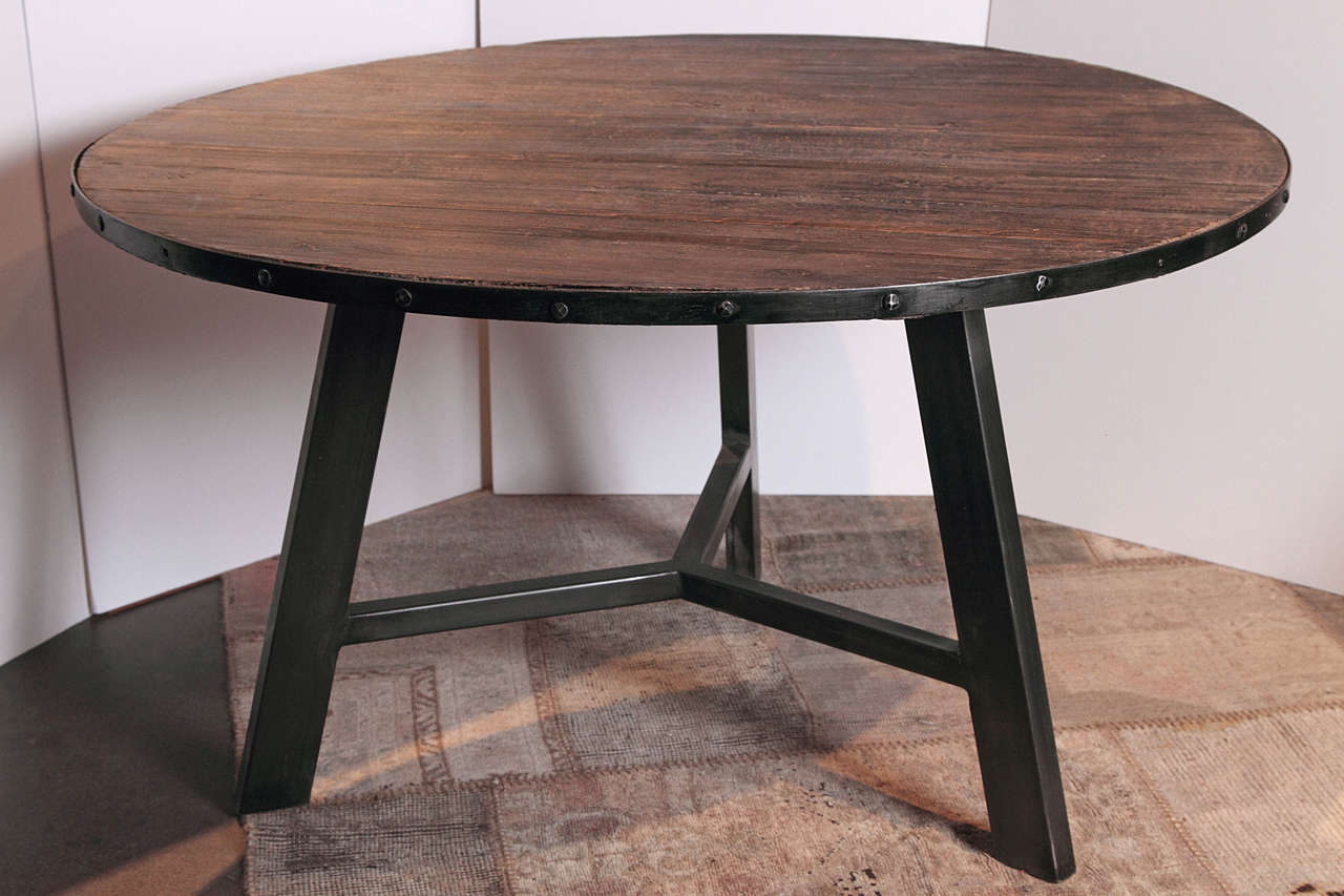 Round Banded Metal Elm Breakfast Table. Black Metal Banded Around The  Dining Table With Detailed