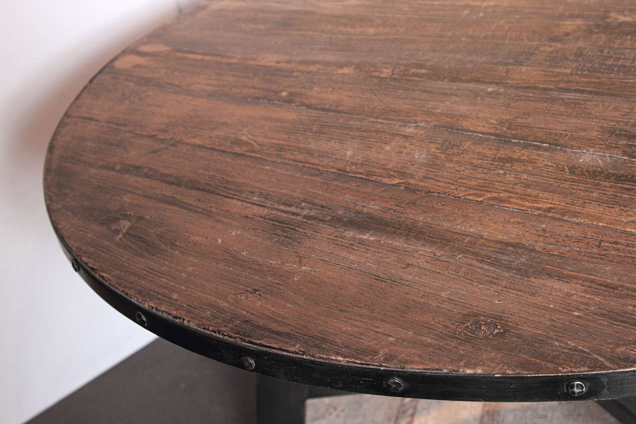 Round Banded Metal Elm Breakfast Table At 1stdibs