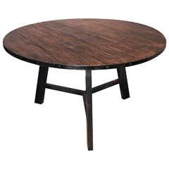 Round Banded Metal Elm Breakfast Table