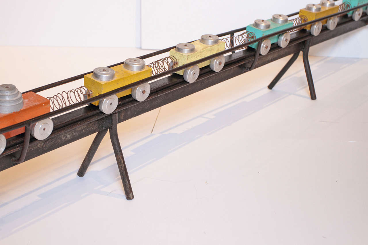 Metal French Toy Train Set For Sale