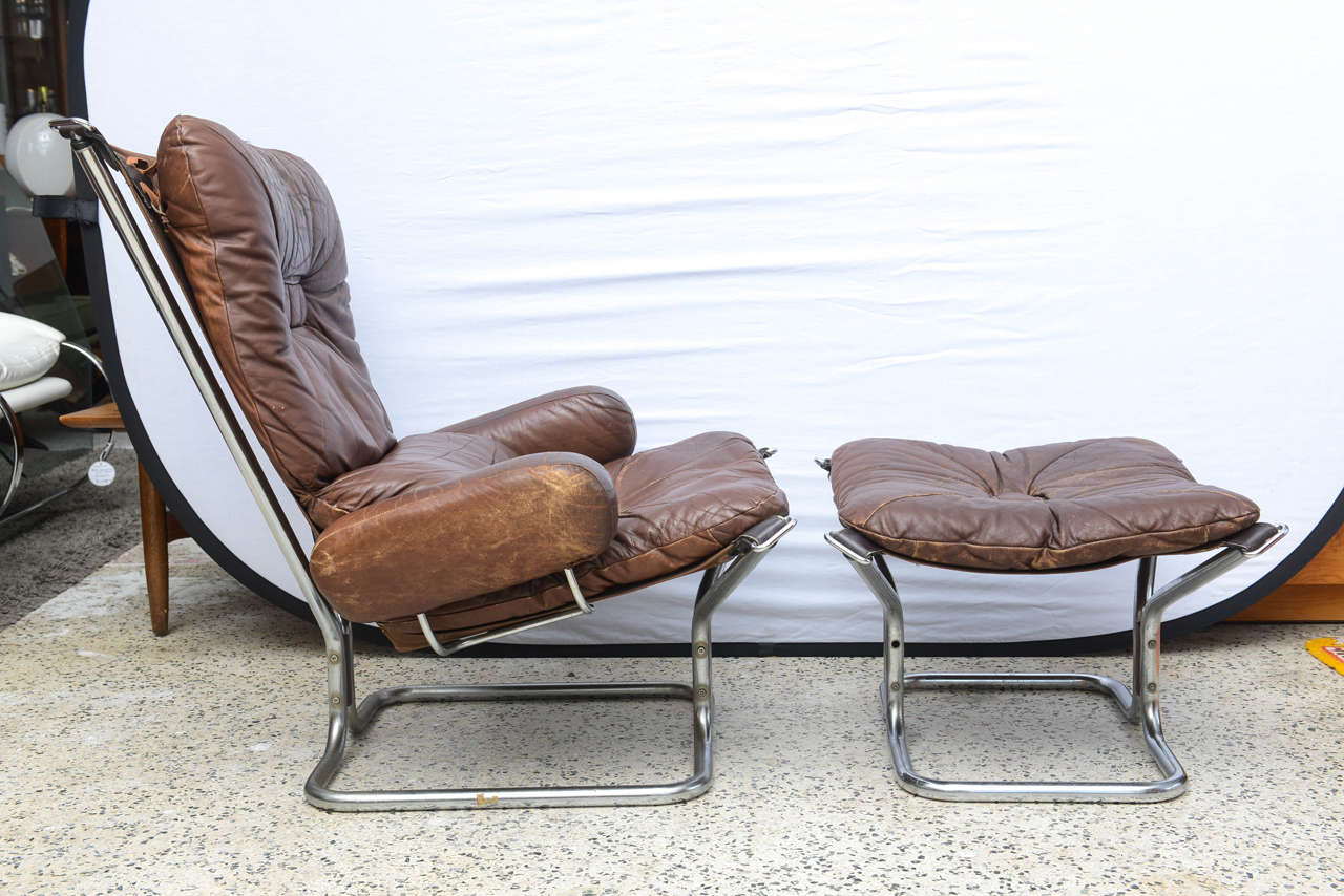 Mid-Century Modern Ingmar Relling for Westnofa Chrome and Leather Chair and Ottoman Norway 1970s For Sale