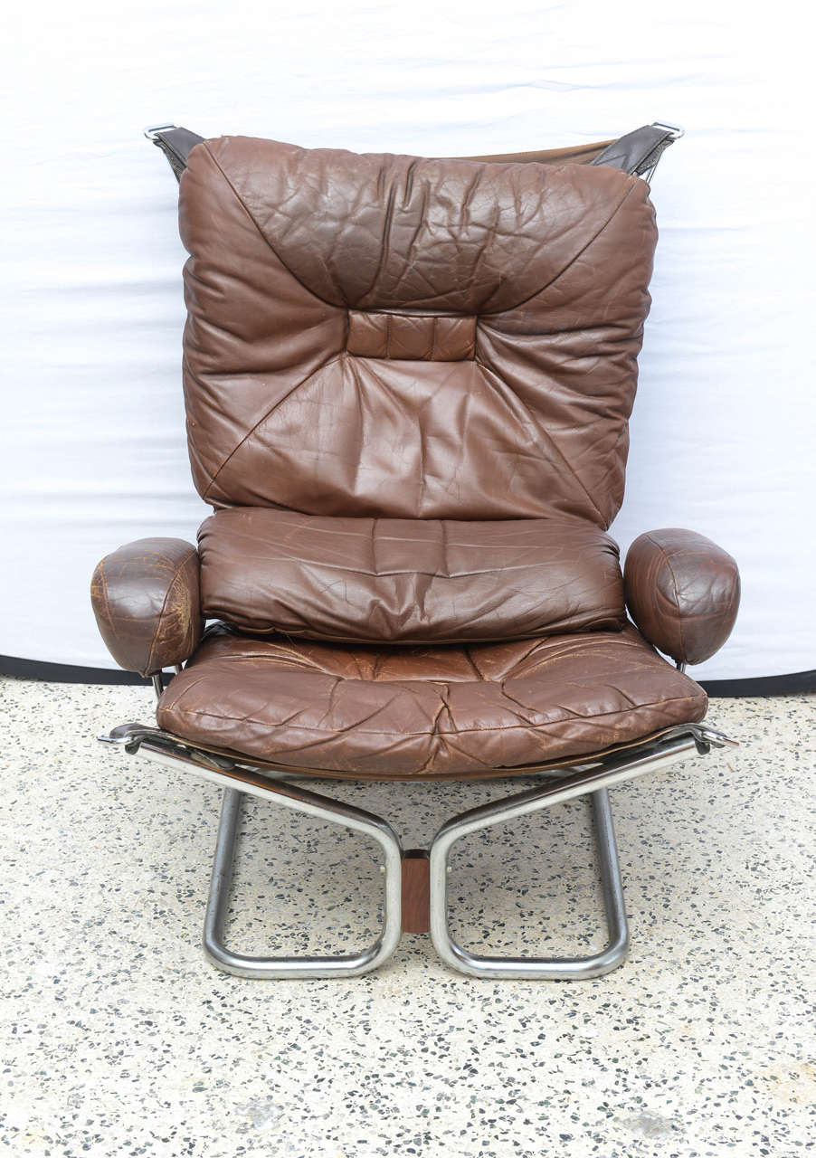 Norwegian Ingmar Relling for Westnofa Chrome and Leather Chair and Ottoman Norway 1970s For Sale