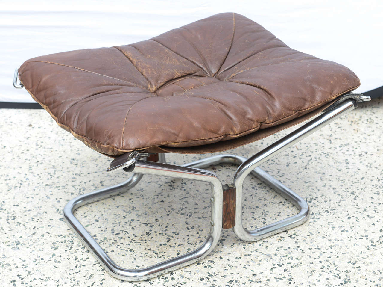 Ingmar Relling for Westnofa Chrome and Leather Chair and Ottoman Norway 1970s For Sale 3
