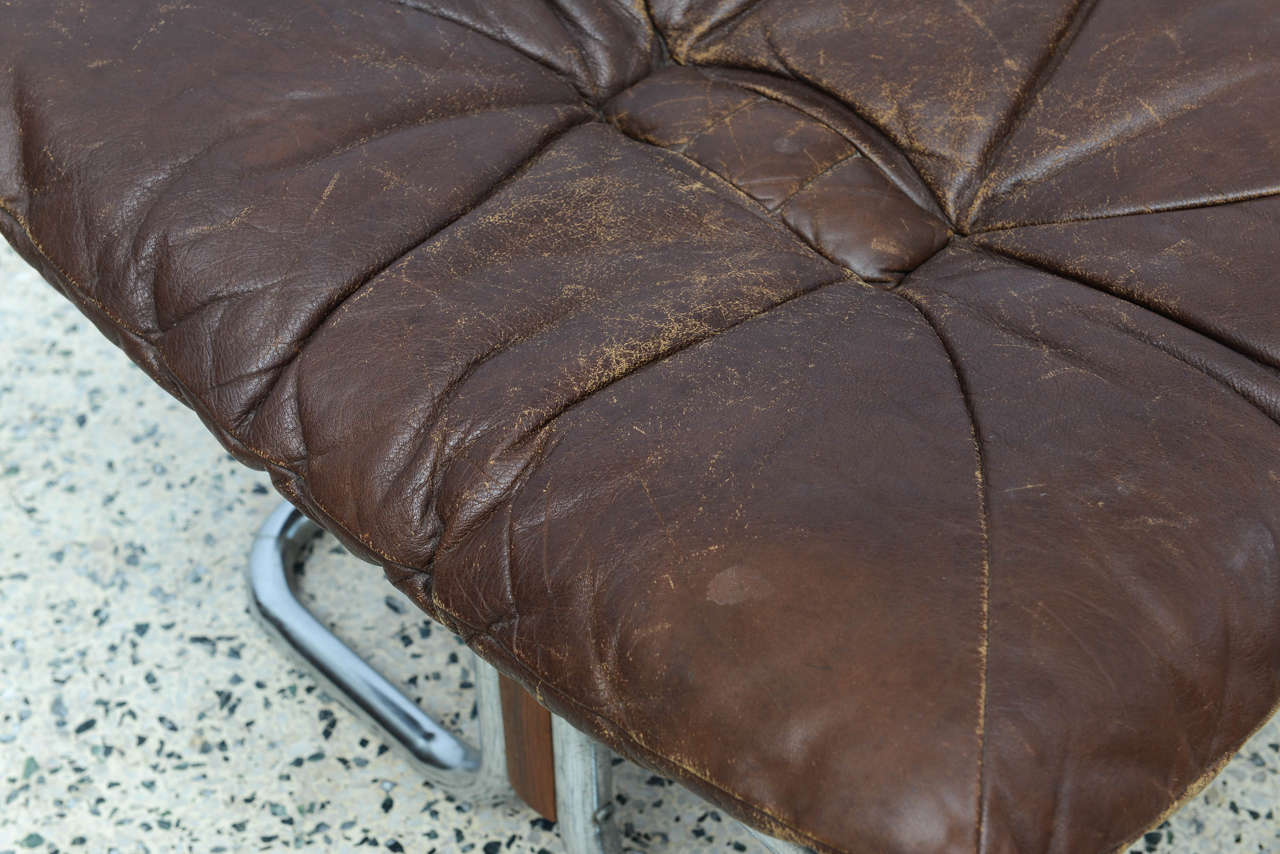 Ingmar Relling for Westnofa Chrome and Leather Chair and Ottoman Norway 1970s For Sale 4