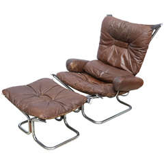Ingmar Relling for Westnofa Chrome and Leather Chair and Ottoman Norway 1970s
