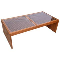 Gorgeous Danish Teak Geometric Large Coffee Table by Komfort 1950s Denmark