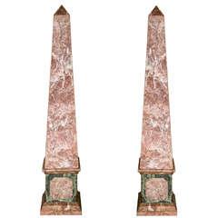 Pair of French Monumental Marble Veneered Obelisks
