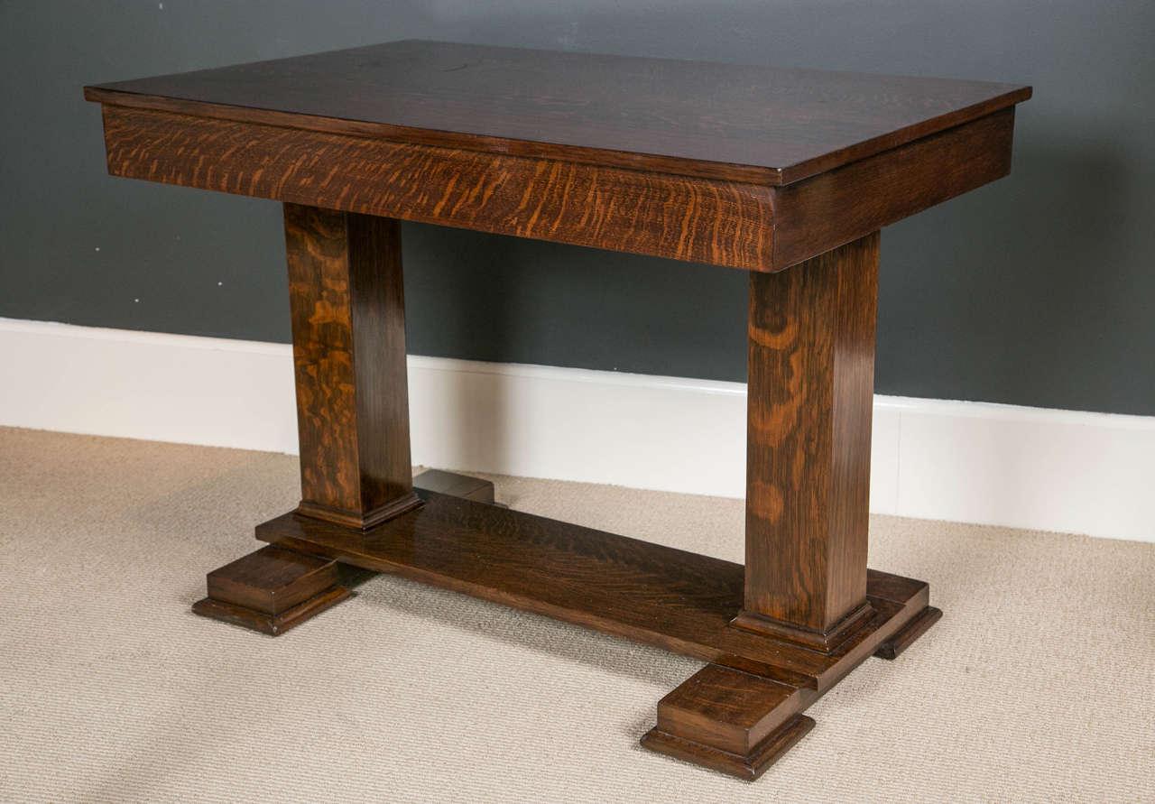 American quarter sawn oak trestle table at stdibs