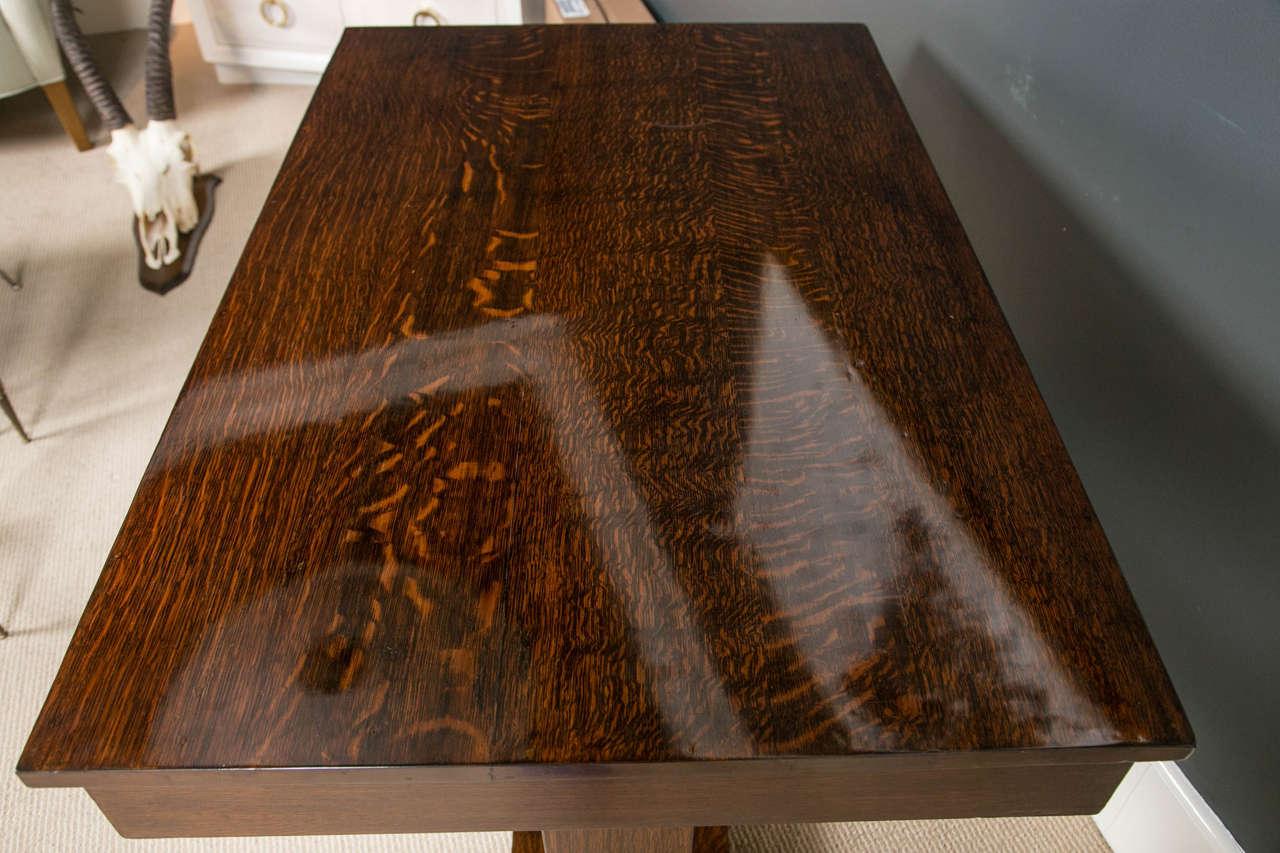 American Quarter Sawn Oak Trestle Table For 1