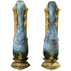Pair of French Art Nouveau Porcelain Vases by Paul Francoise Louchet