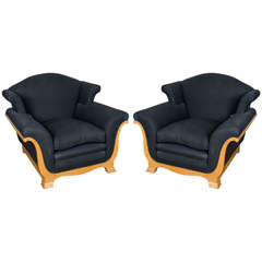 Pair of Art Deco Maple Armchairs