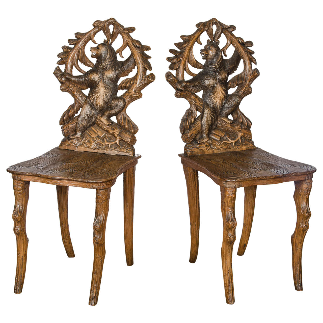 Set Of Eight Carved Black Forest Side Chairs 1