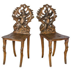 Set of Eight Carved Black Forest Side Chairs