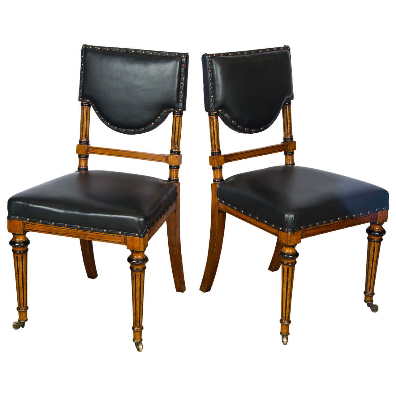 19th Century Set Of Leather Upholstered Oak Dining Chairs