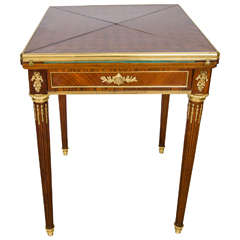 19th Century French Envelope Kingwood and Rosewood Card Table