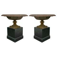 Pair of Large Edwardian Cast Iron Urns