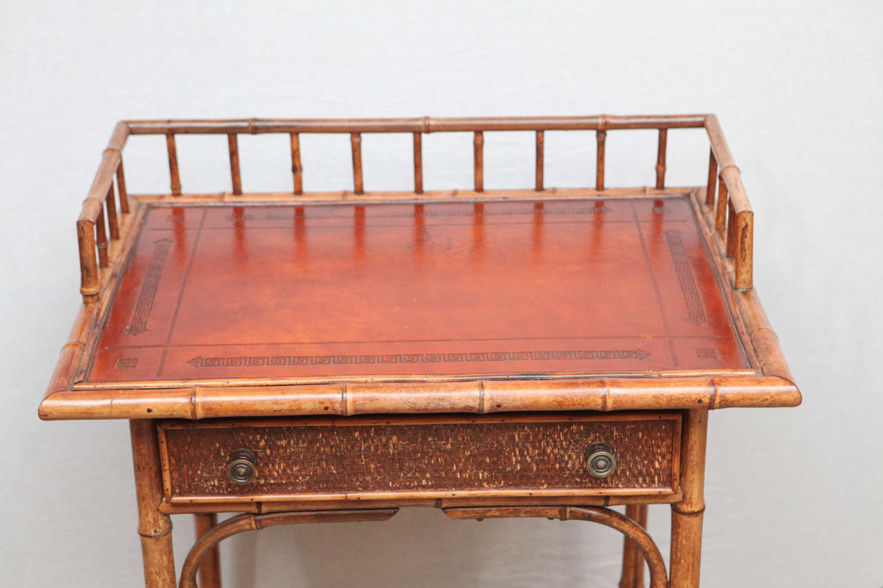 19th Century English Bamboo Writing Table with Single Drawer 3