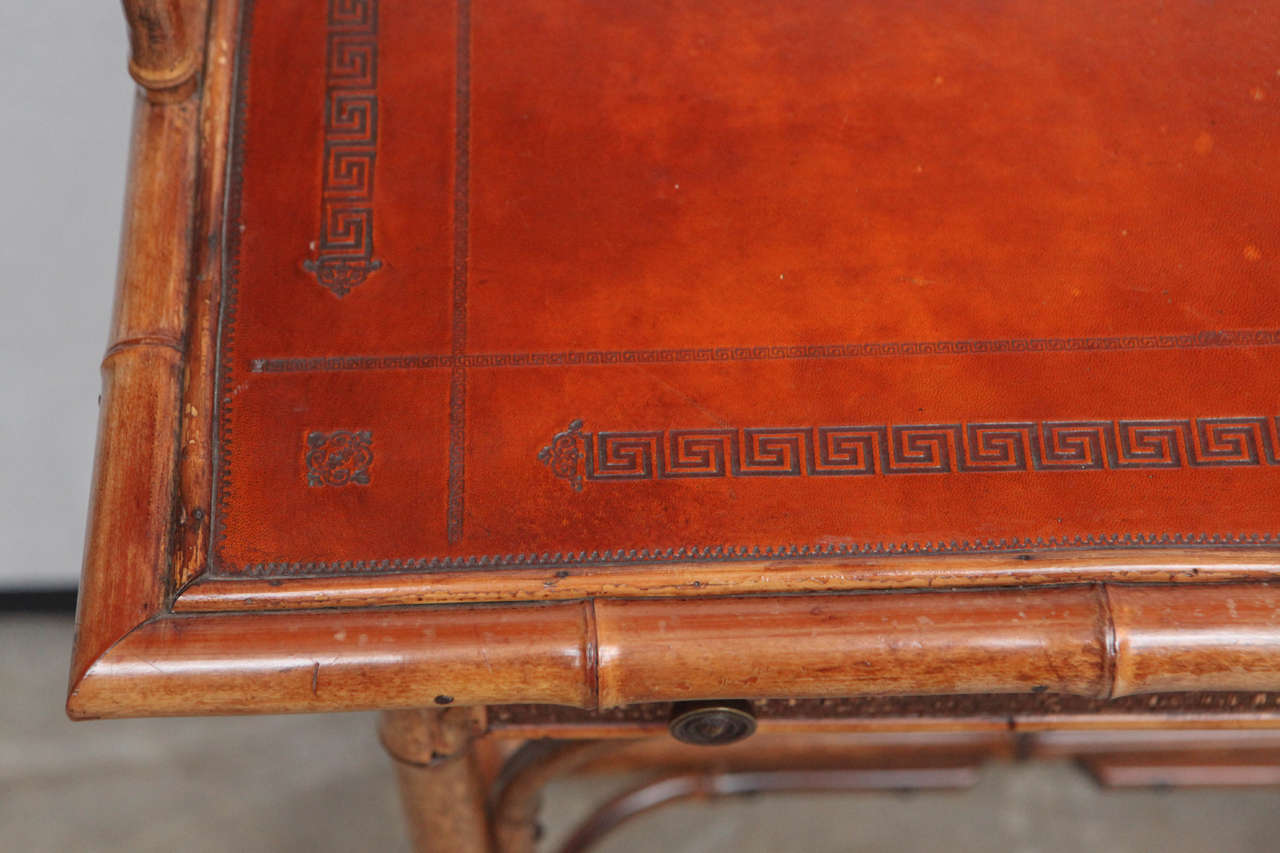 19th Century English Bamboo Writing Table with Single Drawer 5