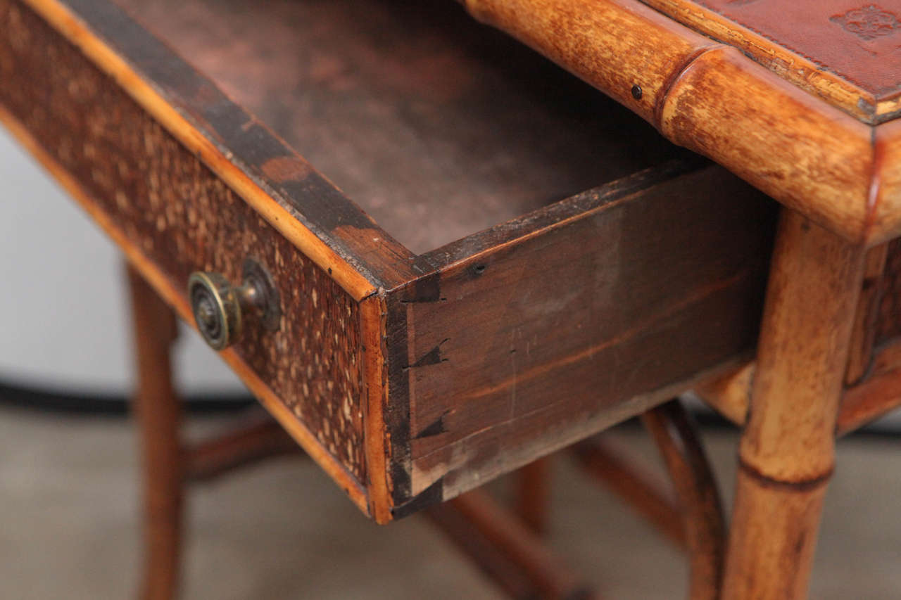 19th Century English Bamboo Writing Table with Single Drawer 6