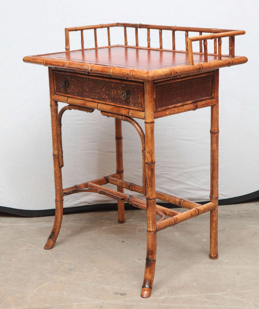 19th Century English Bamboo Writing Table with Single Drawer For Sale 4