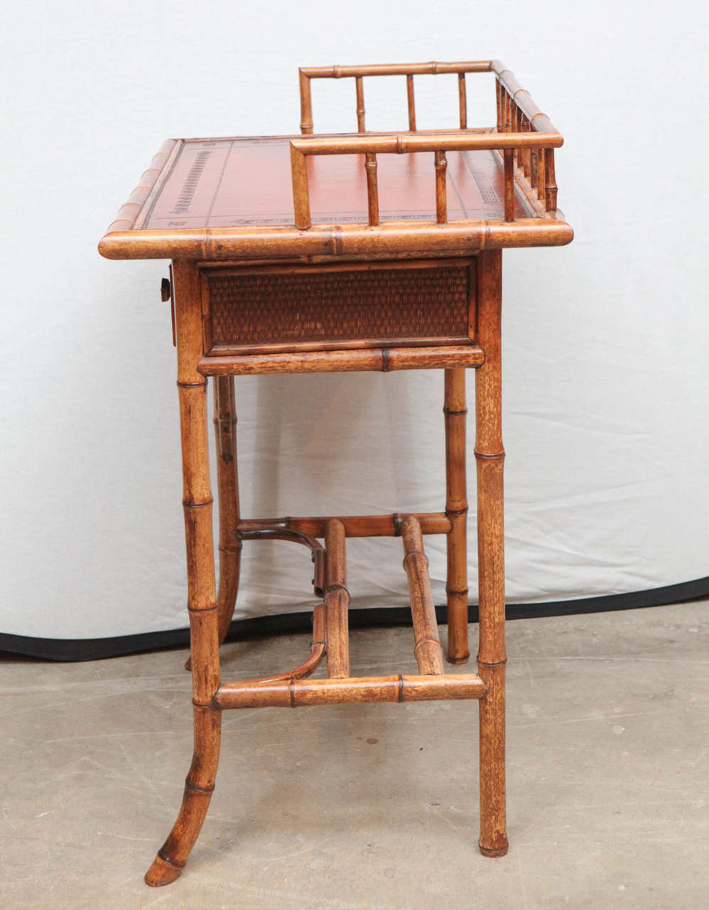 19th Century English Bamboo Writing Table with Single Drawer For Sale 5