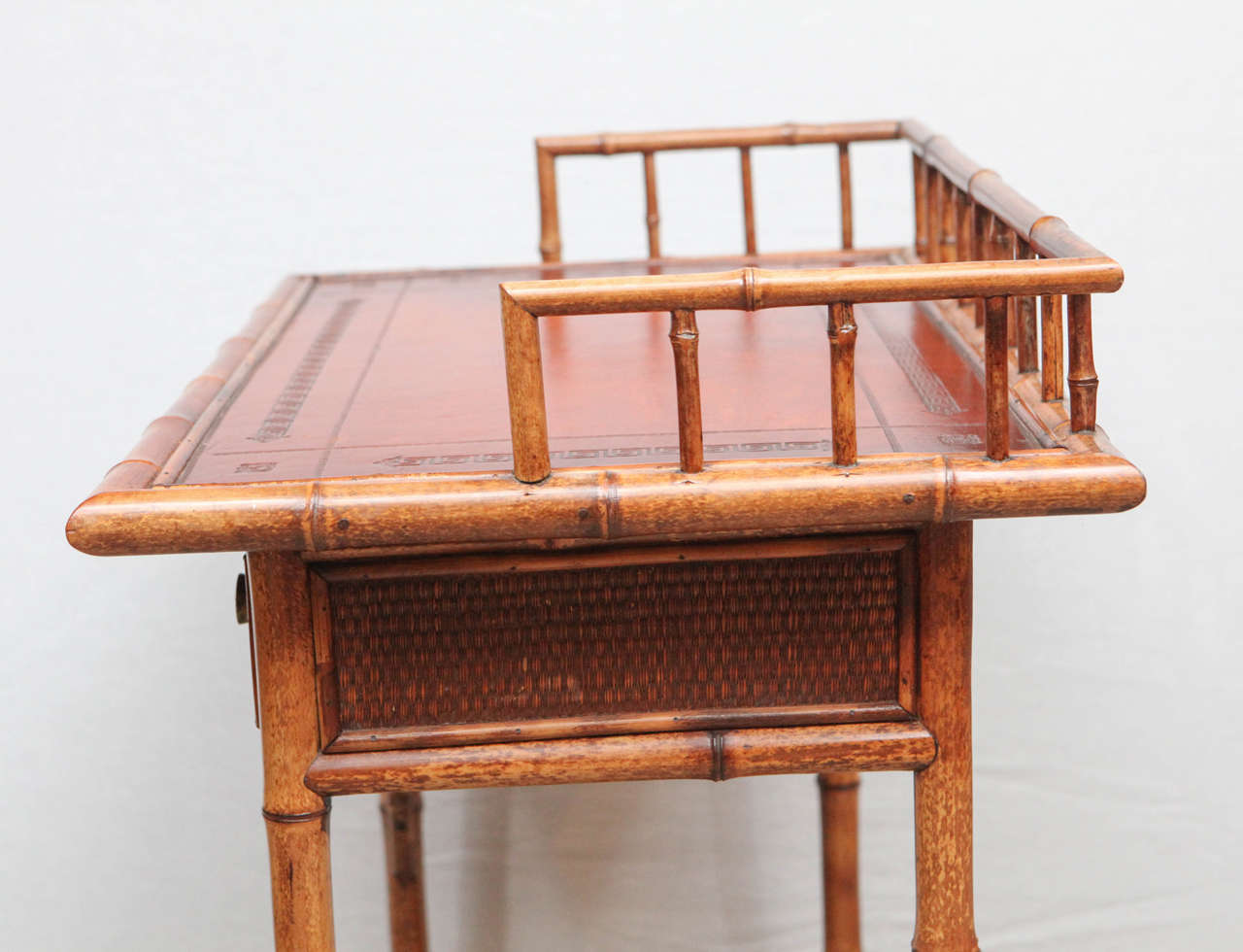 19th Century English Bamboo Writing Table with Single Drawer For Sale 6