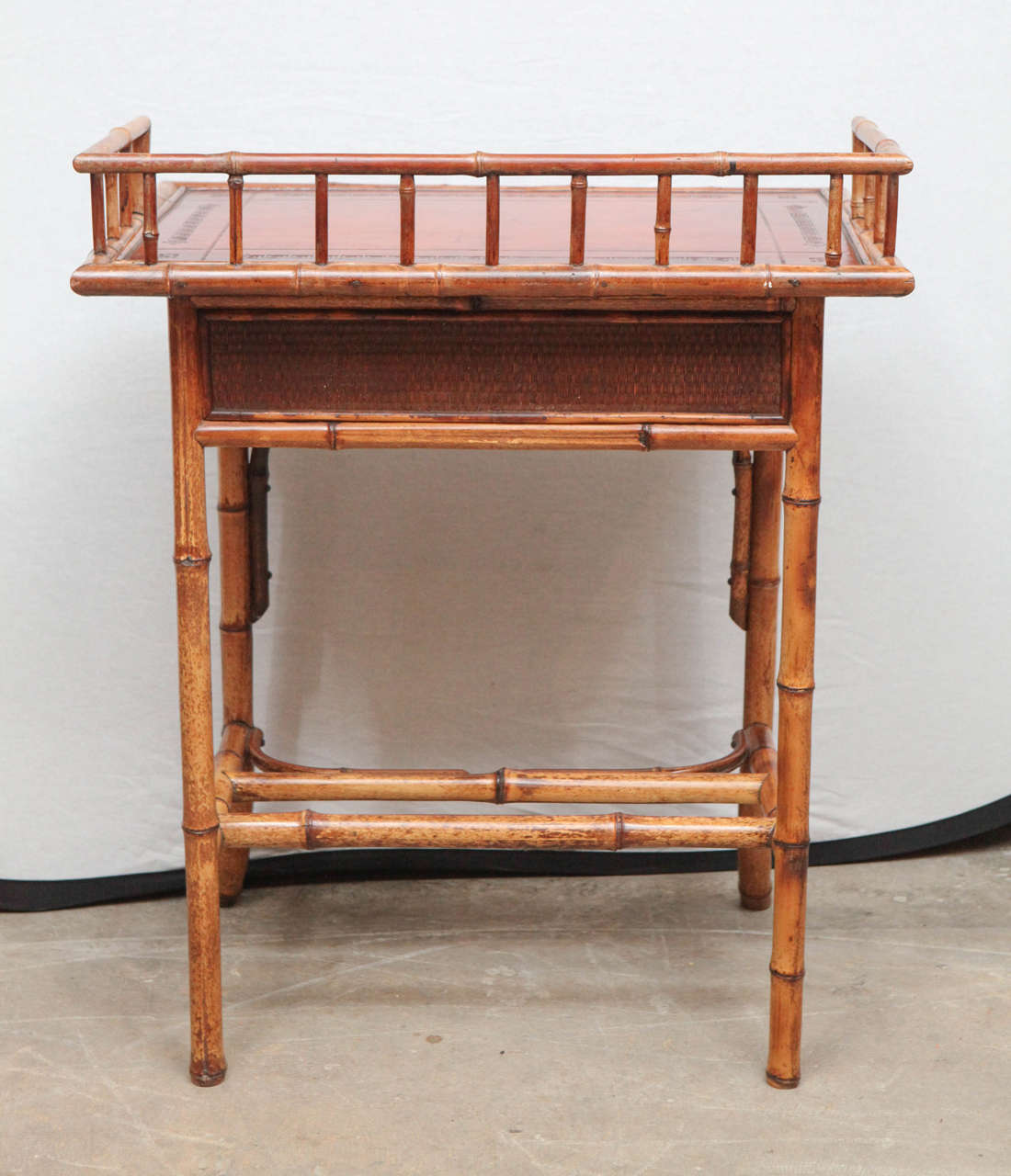 19th Century English Bamboo Writing Table with Single Drawer For Sale 7