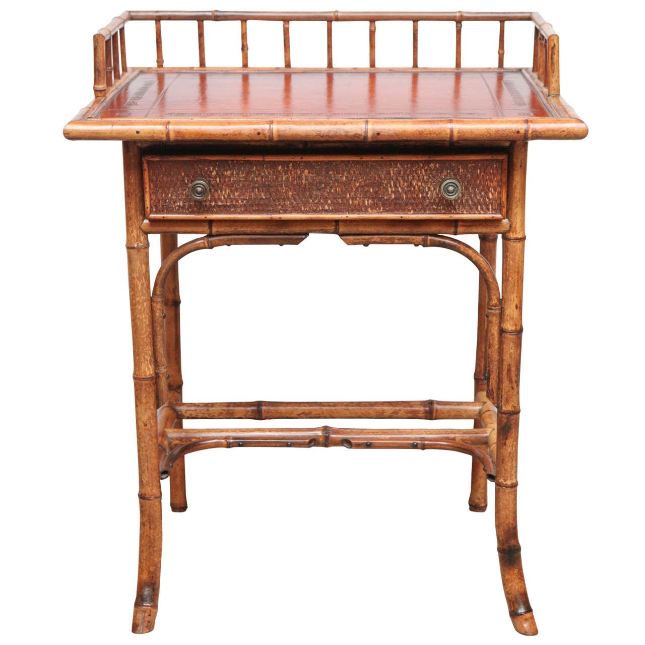 19th Century English Bamboo Writing Table with Single Drawer For Sale