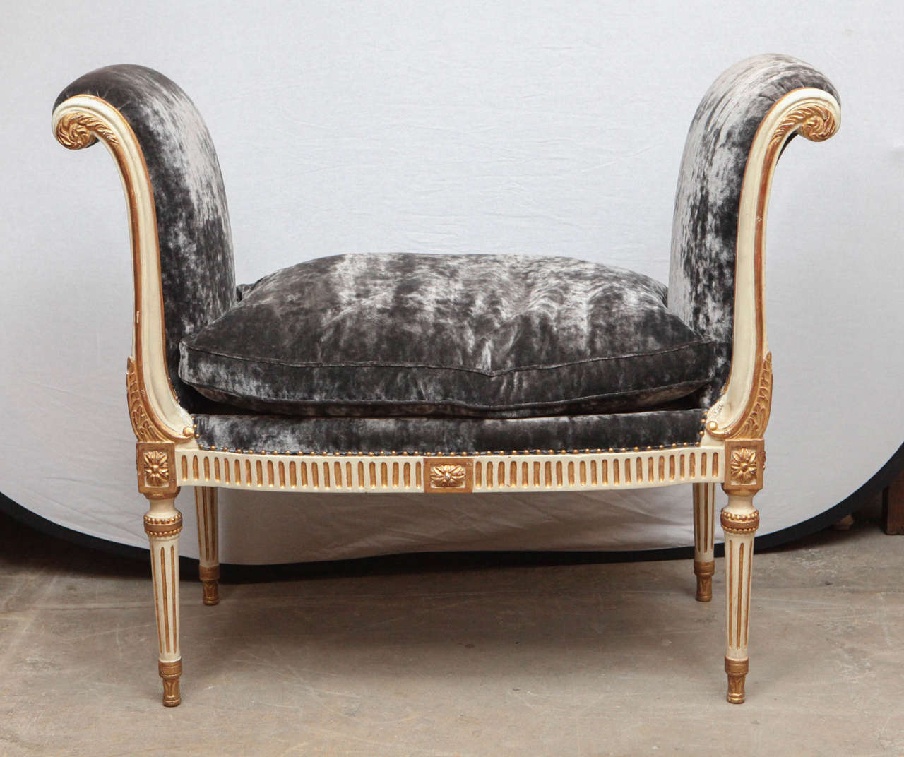 Giltwood And Painted French Style Curled Arm Bench For
