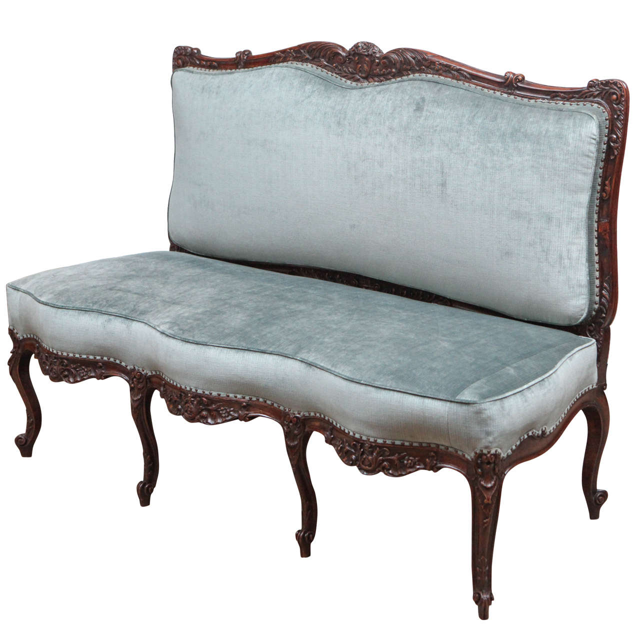 19th Century French Walnut Armless Settee